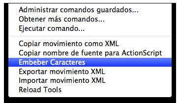 menu comandos comando embeber caracteres adobe flash